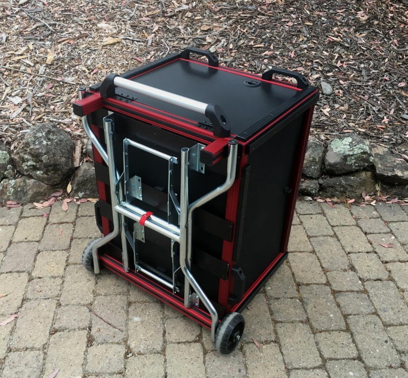 Versa Flypak RED with 6RU ShockRack closed with added folding legs