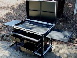 G.E. Cart with Bigfoot aluminum  rack drawers-Flip up side panels