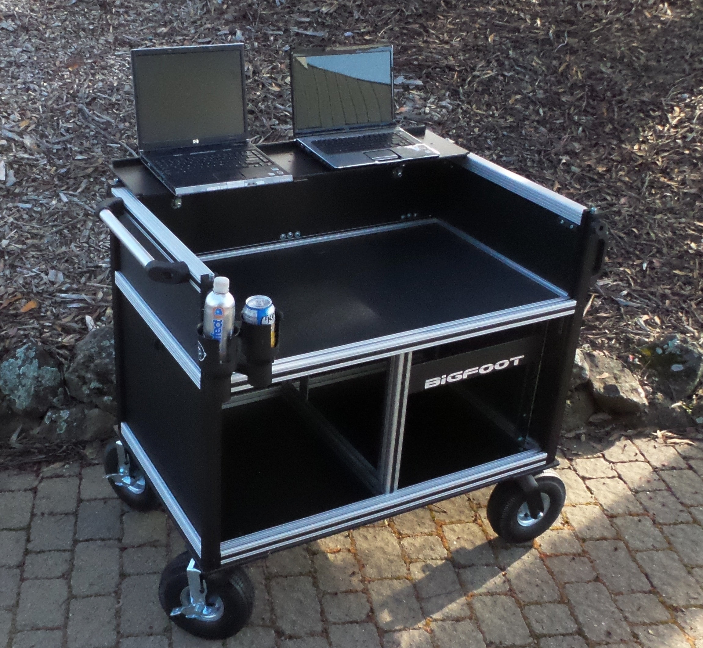 Bigfoot Large Audio Console System with large turf wheels, front shelf conversion