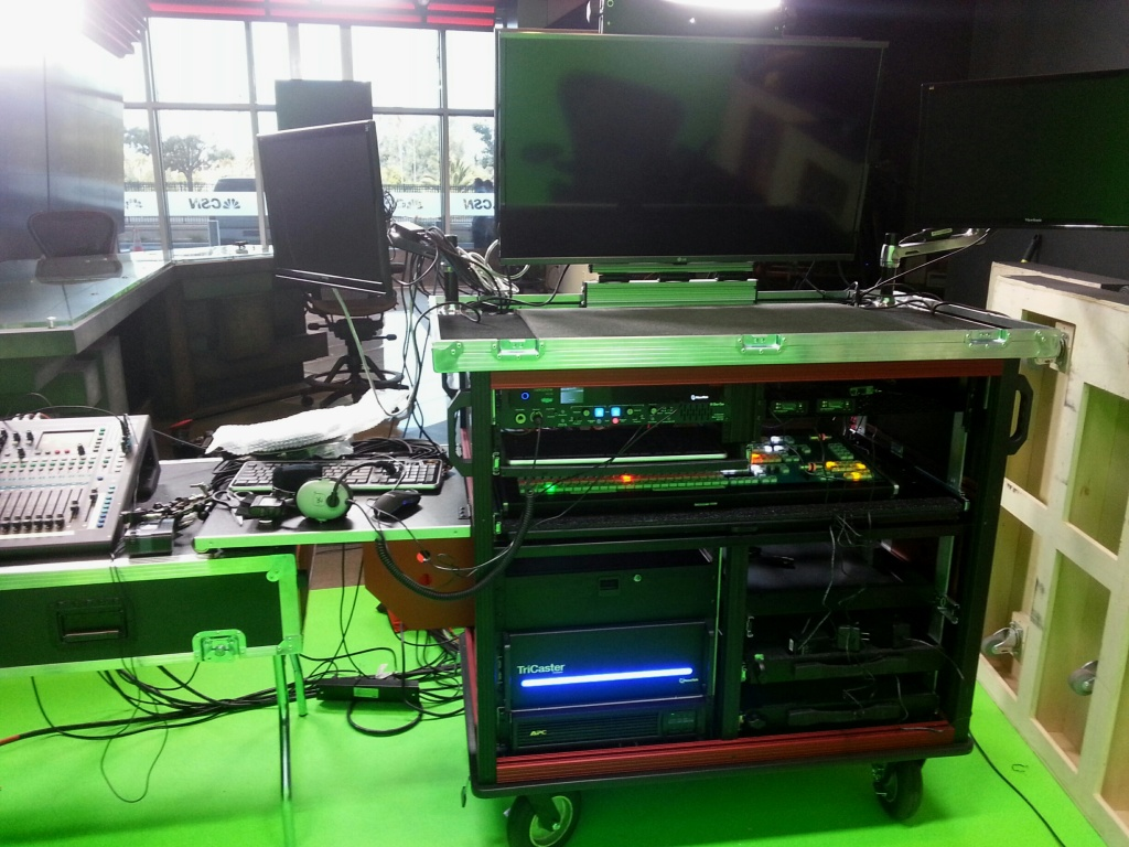 49ers Bigfoot Double Rack cart with 8000 Tricaster, Lift off lid