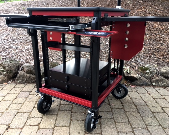 SingleRack Cart, shock rack frame detail, flip up side panels