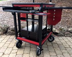 SingleRack Cart, shock rack frame detail, flip up side panels