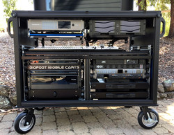 Bigfoot Cart System with Deluxe Shock racks, Dual monitor drawers -