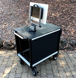SingleRack Cart, solid top,swing up-swivel mount, removable side panels