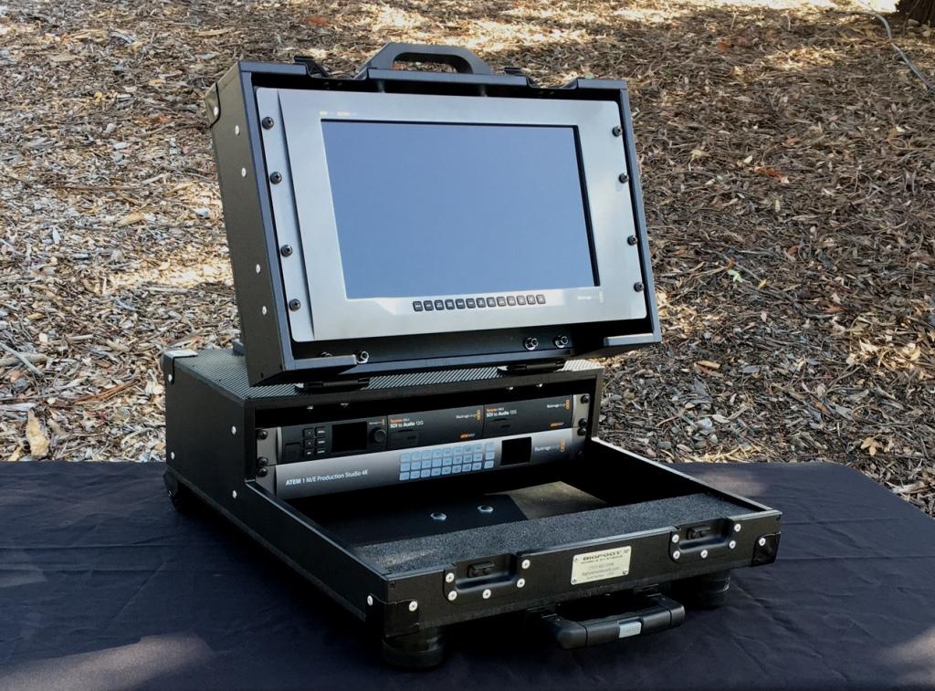 Bigfoot Briefcase with 2RU main, 6RU lid racks, with handle and wheels option, angle adjustable moni