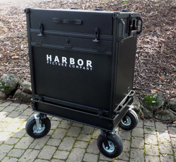 Bigfoot Side Ops 2 Piece Split-Apart cart with 2RU base, KB drawer, 3RU swing up rack mount, In lid