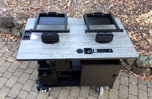 Bigfoot  Rolling Sit-Stand Desk top deck connections and power optionsy