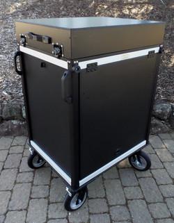 SingleRack Cart, storage lid top w-Flip up side panels
