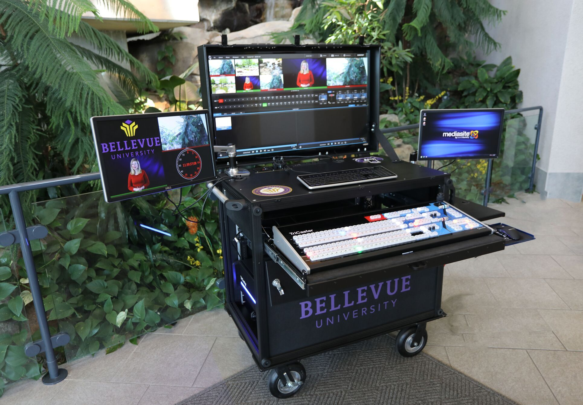 Bellevue University Bigfoot Single Rack-Side Operator cart,  with three monitors installed