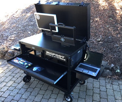 Bigfoot DoubleRack clamshell with swingup monitor& swing up rack