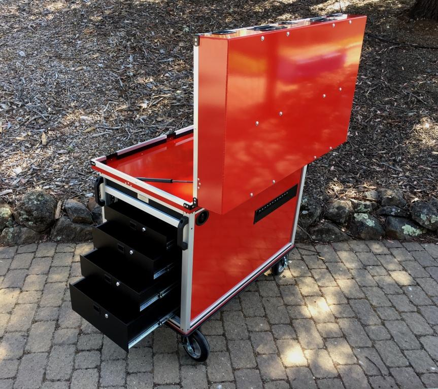 Bigfoot Doublewide cart with adjacent racks right side