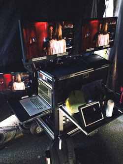 Front to Bax Bigfoot producers cart, with 2 babypin mount monitors