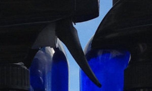 COBALT BLUE GLASS BOTTLE-EMPTY- 16 OZ