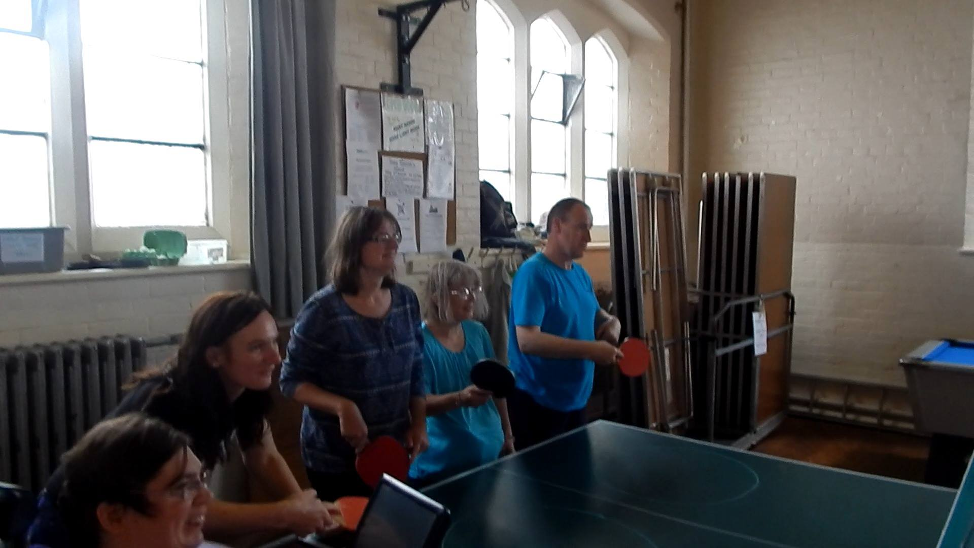 "This is ""Open Door"" people who have a disability, get to together have some fun playing Table tennis where our club go get people Active as you can see they are enjoying the hour we spent with them, and we both get a cup afterwards."