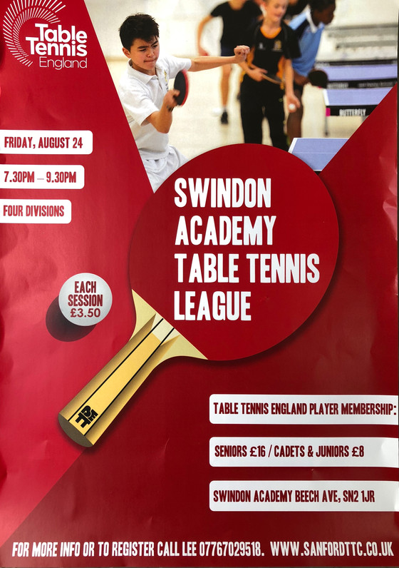 NEW SWINDON ACADEMY LEAGUE SET TO BE LAUNCHED ON THE 24TH OF AUGUST FUNDED BY TABLE TENNIS ENGLAND.