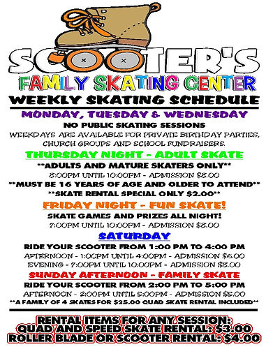 Scooter's Weekly Schedule - 2020 - Full