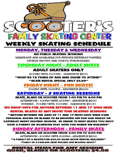 Scooter's Weekly Skating Schedule - may