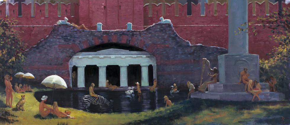 Нудисты в Александровском саду, 2017 холст/масло, 100 x 230