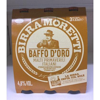 3 BIRRA BAFFO MORETTI 33CL