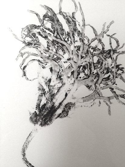 Seaweed monoprint - a unique print