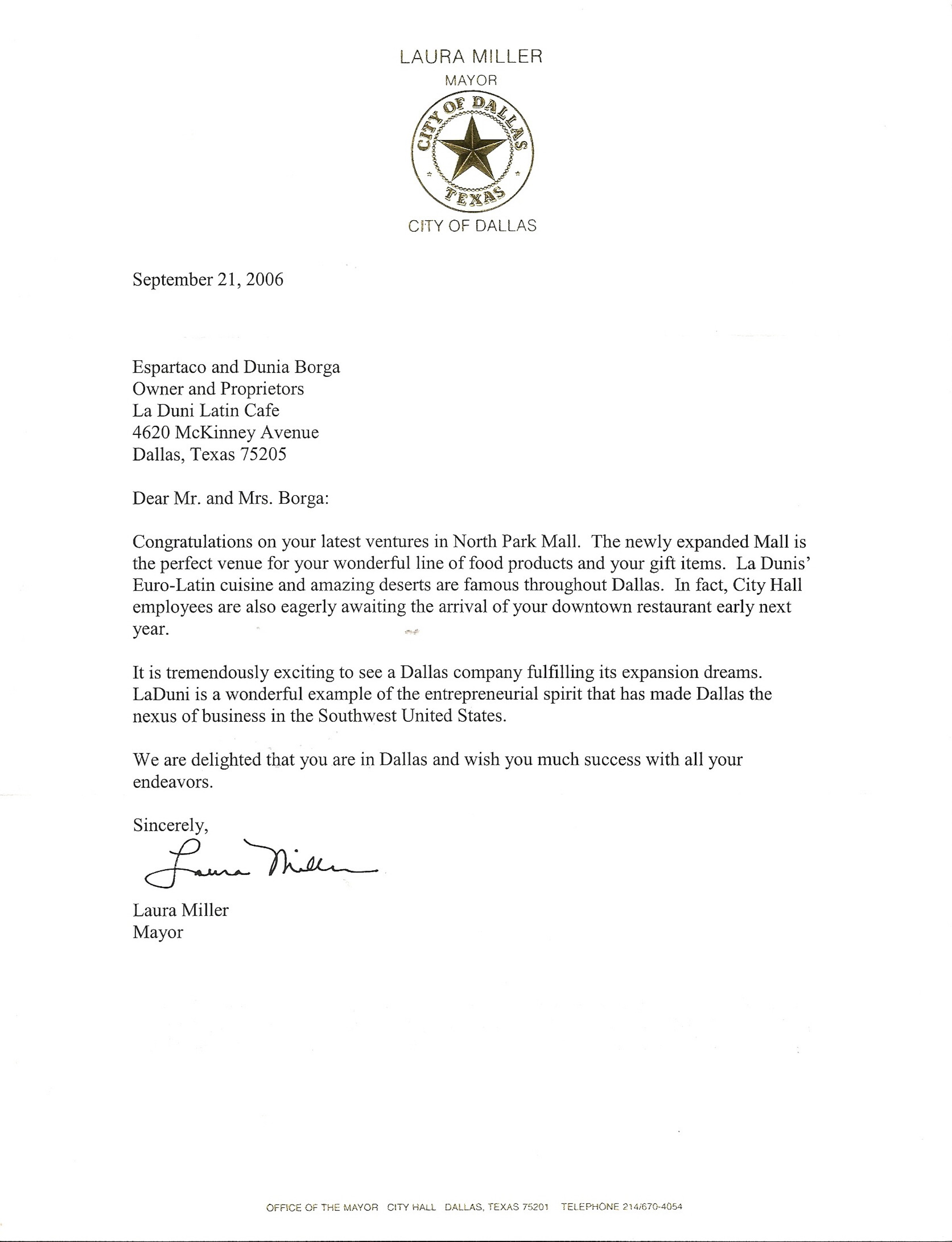 116 Mayor Letter Oct  06