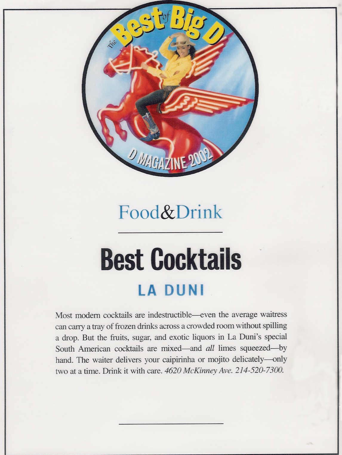 37 D Best Cocktails Award