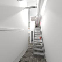 Vista escaleras a nuestro control técnico, con puerta corredera al lateral escenario cerrada.