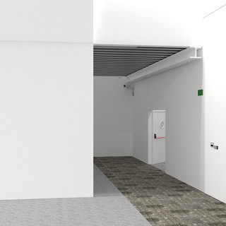 Entrada desde la Nave a la Sala Refectorio, puerta contigua a la cocina industrial.