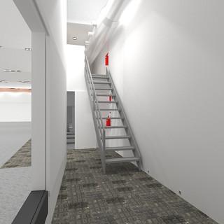 Vista escaleras a nuestro control técnico, con puerta corredera al lateral escenario abierta. Sin escenario.