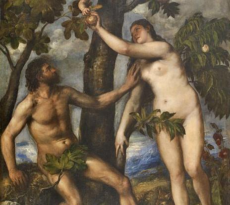 Adán y Eva, Tiziano, 1550, Museo del Prado
