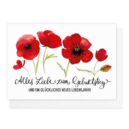 Doppelkarte Mohnblüte