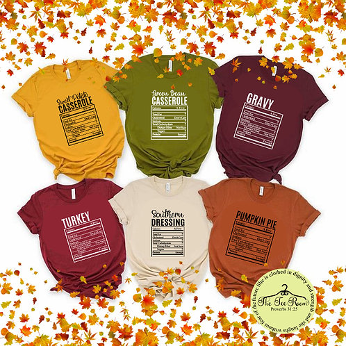 Thanksgiving Food Labels Tee