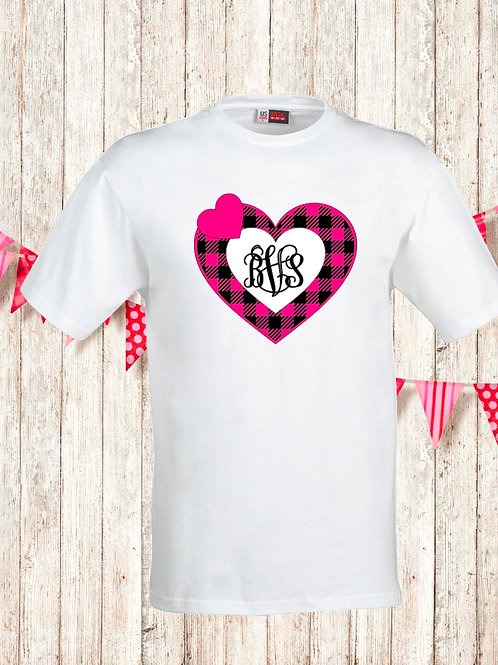Monogram Plaid Heart