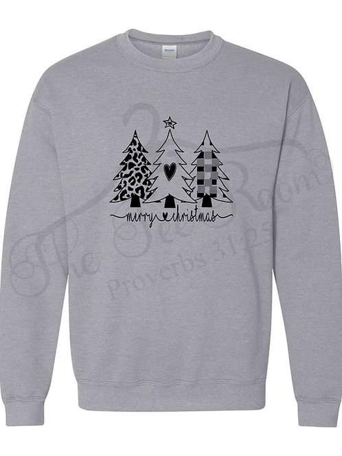 Christmas Tree Black on Grey