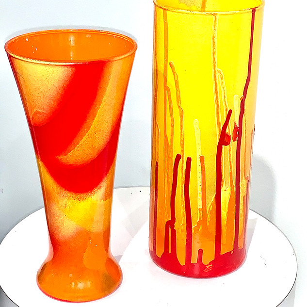 Red, Orange, and Yellow - Recycled glass vases