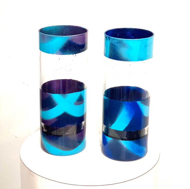 Blue - Recycled glass vases