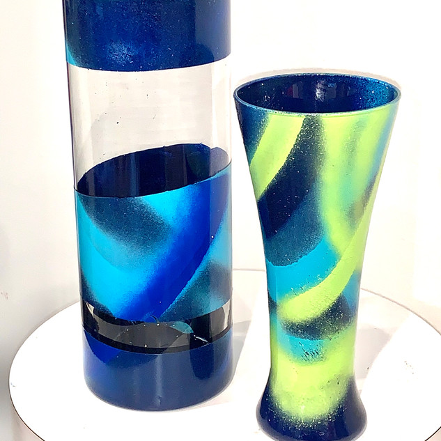 Blue and green - Recycled glass vases