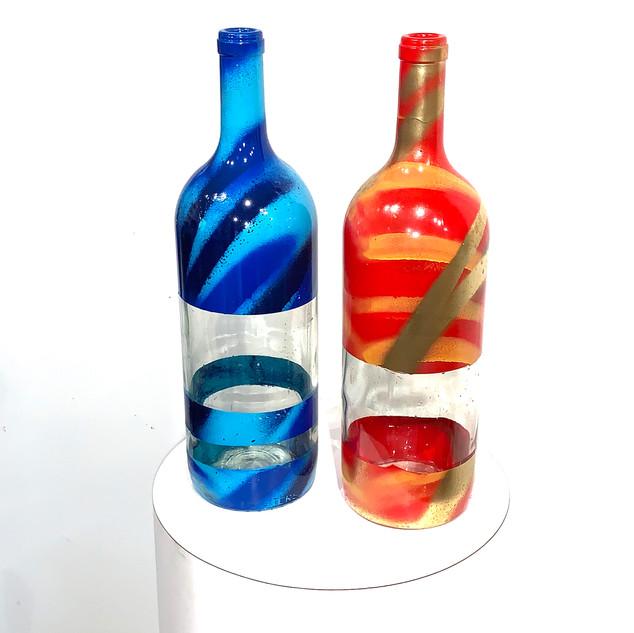 Recycled wine bottle vases