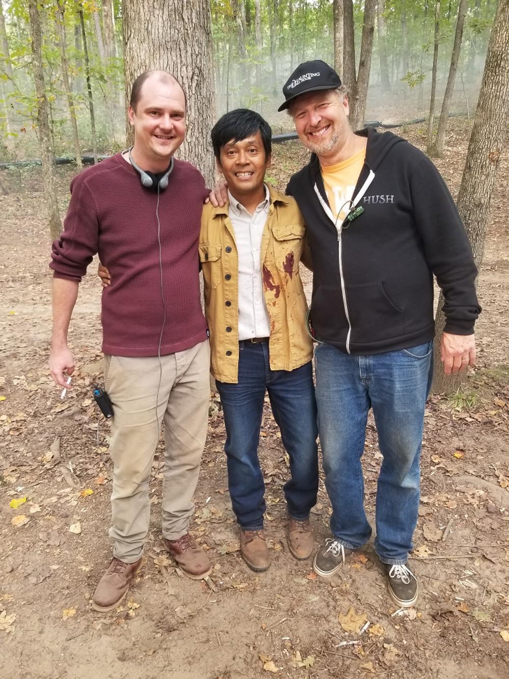 Left to right:  Director Mike Flanagan, Met Clark - Actor, Stunt Coordinator Chuck Borden