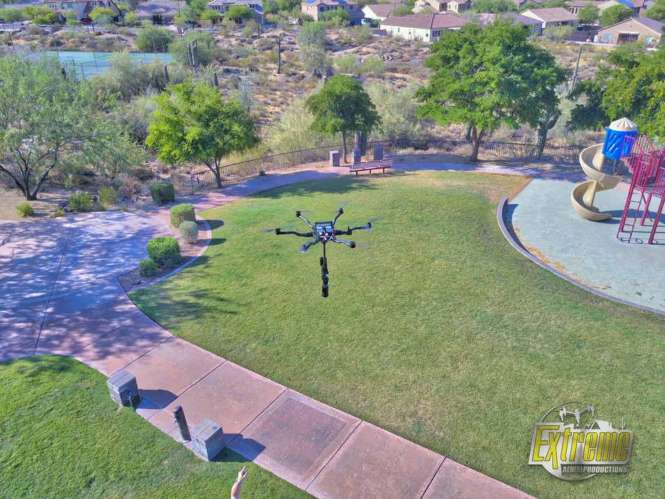 drone image of 360 VR video drone in action, arizona, extreme aerial productions