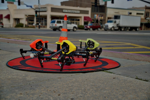 Drones in hi viz colors so as to be safe on job sites