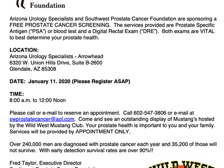 Free Prostate Cancer Screening - January 11, 2020