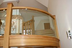 Custom made glass/white oak balcony