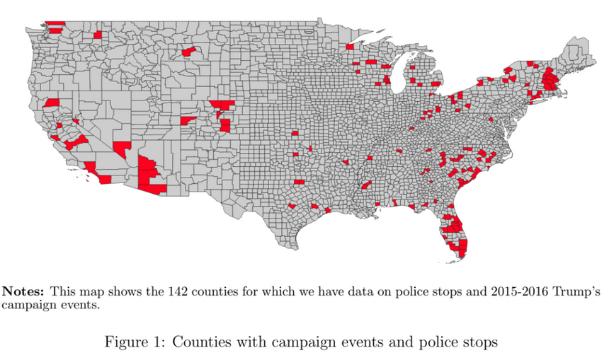 Counties with campaign events and police stops from Whistle the Racist Dogs by P. Grosjean, F. Masera & H. Yousaf