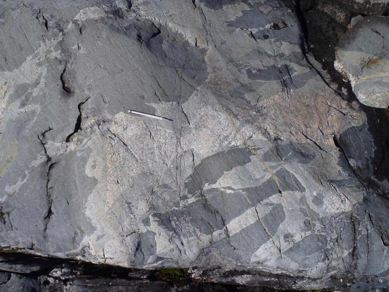 Magma mingling features in 3.26 Ga rocks