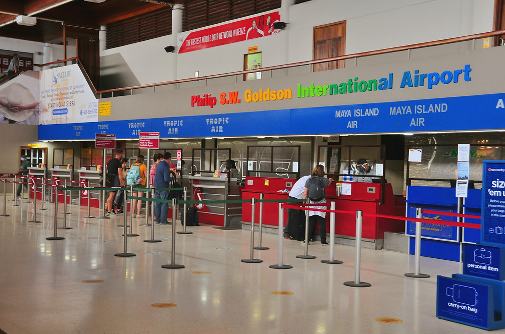 Check-in area at Philip Goldson International Airport (BZE) | Southern Belize Shuttle Service