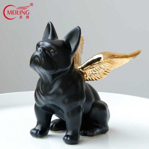 Black French Bulldog With Gold Wing
