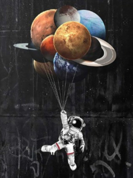Canvas wall Oil painting astronauts in space