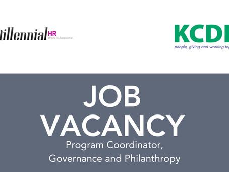 CLOSED | Job Vacancy: Program Coordinator – Governance & Philanthropy at KCDF