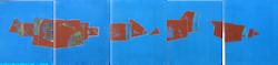 Rochers rouges en cinq quites bleues